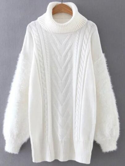 White Turtleneck Drop Shoulder Cable Knit Sweater