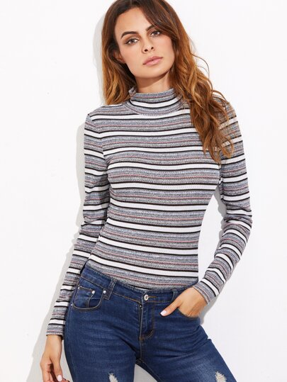 Grey Striped Mock Neck Ribbed Bodysuit