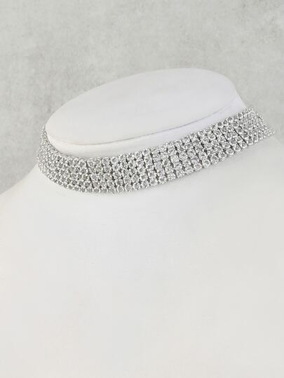Stacked Faux Rhinestone Choker Necklace SILVER