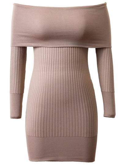 Light Khaki Ribbed Off The Shoulder Knit Bodycon Dress