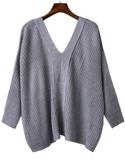 Grey V Neck Lace Up Back Drop Shoulder Sweater