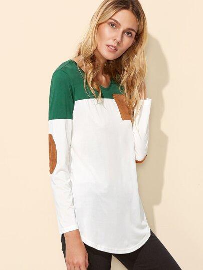 Camiseta con parche al codo y bajo redondeado - color block
