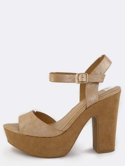 Metallic Platform Chunky Heels ROSE GOLD