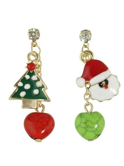 Colorful Enamel Snowman Tree Shape Drop Earrings