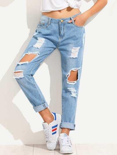 Boyfriend Jeans mit zerrissenen Design - blau