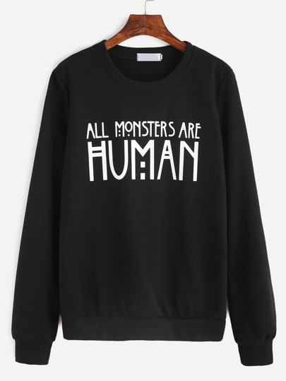 Black Slogan Print Sweatshirt