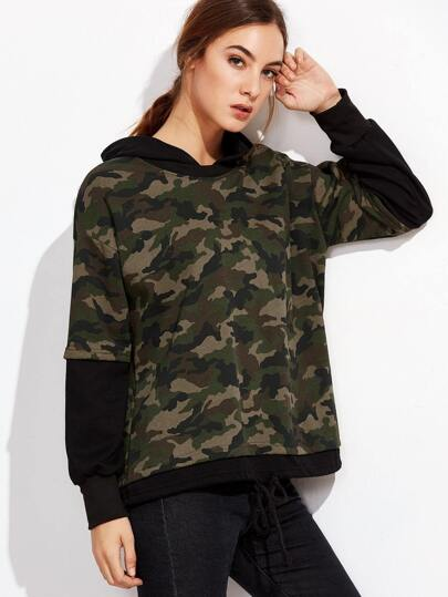Camo Print Drawstring 2 In 1 Hooded Sweatshirt