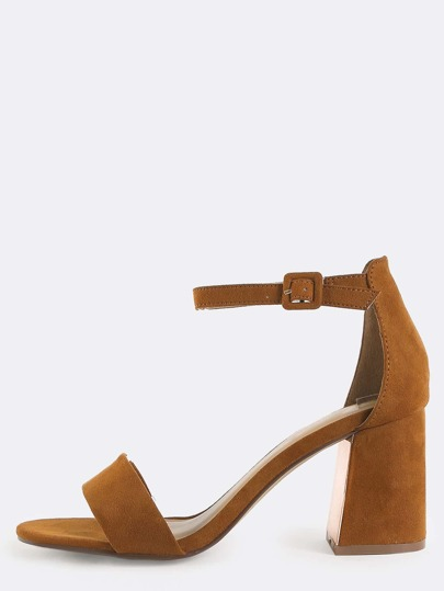 Faux Suede Flare Heels CHESTNUT