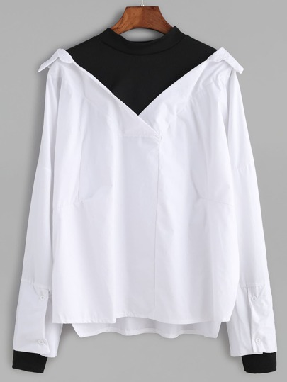 Black And White Color Block 2 In 1 Blouse
