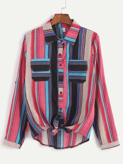 Multi Stripe Roll Tab Sleeve Shirt