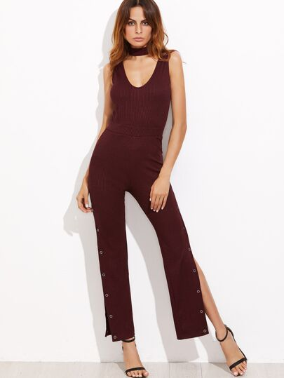 Burgundy Cutout Choker Buttoned Sideseam Ribbed Jumpsuit