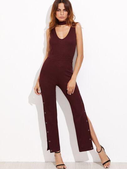 Бордовый модный комбинезон