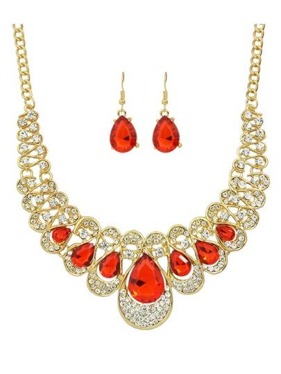 Red New Coming Rhinestone Statement Jewelry Set