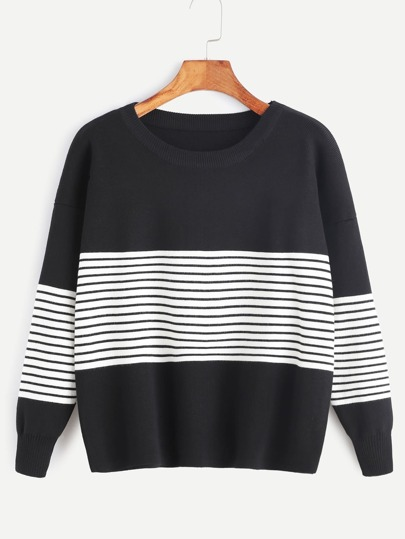 Contrast Striped Trim Drop Shoulder Sweater