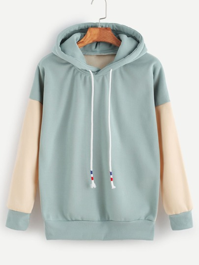 Contrast Drop Shoulder Drawstring Hooded Sweatshirt