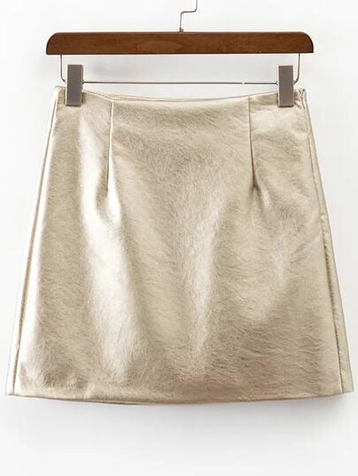 Gold Side Zipper PU Skirt