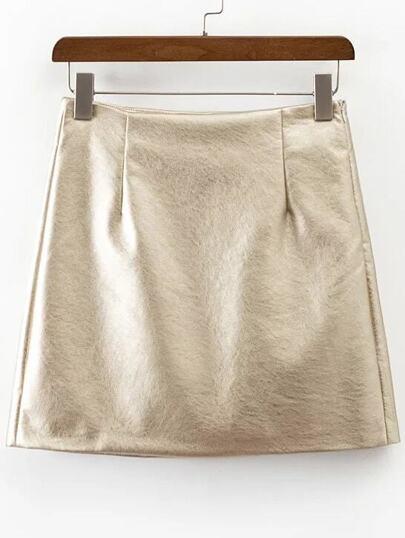 Falda de PU con cremallera lateral - dorado
