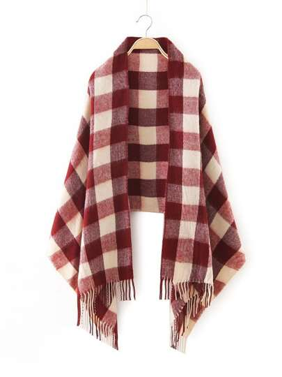 Red Checkered Fringe Edge Scarf