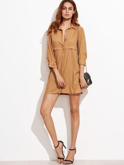 Camel Button Front Long Sleeve Shirt Dress