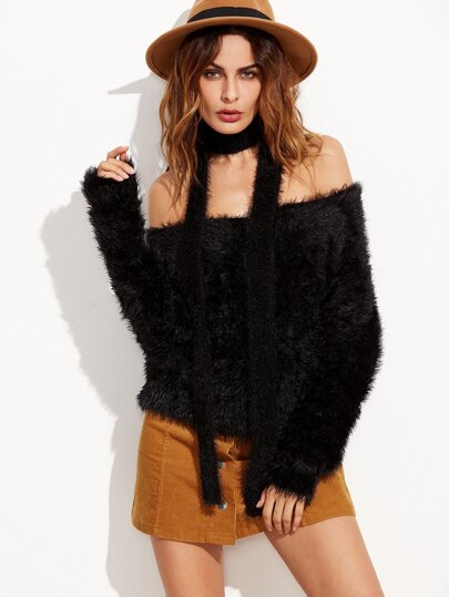 Black Multiway Fluffy Sweater With Neck Tie