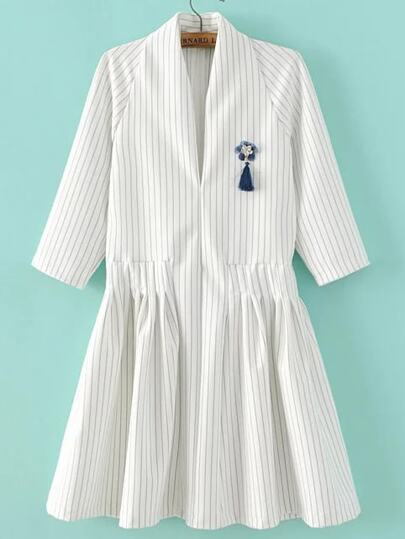 White Vertical Striped V Neck Dress With Brooch
