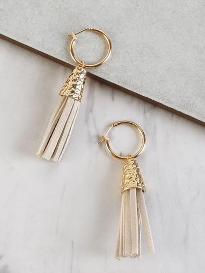 Suede Fringe Dangle Earrings BEIGE