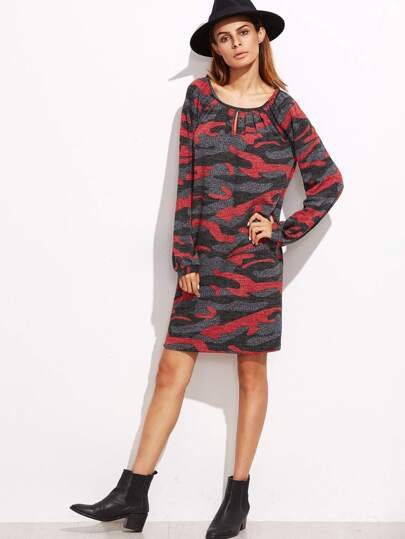 Red Camo Print Keyhole Shift Dress