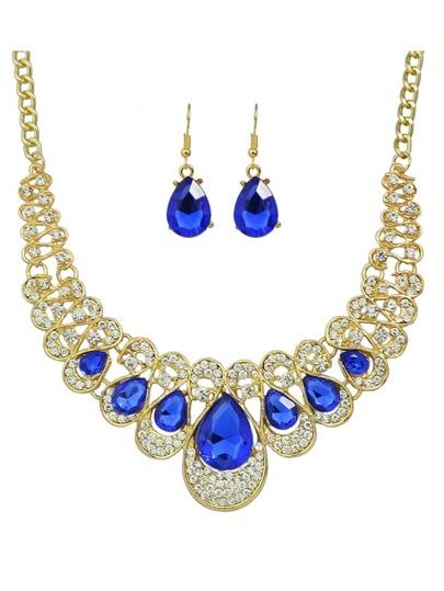 Blue New Coming Rhinestone Statement Jewelry Set