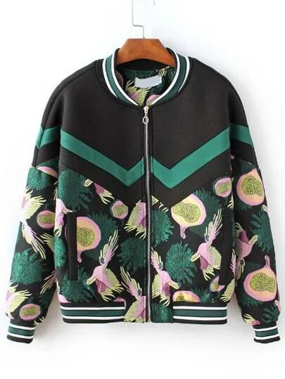 Multicolor Printed Striped Trim Bomber Jacket