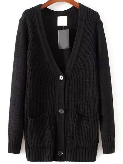 Black Front Pocket Button Up Cardigan
