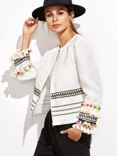 White Embroidered Tape And Pom Pom Trim Jacquard Blazer