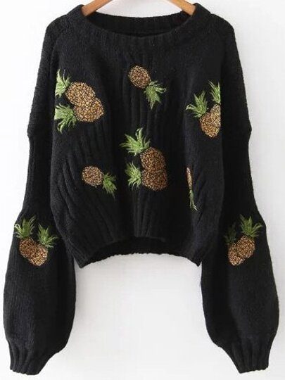 Black Pineapple Embroidery Drop Shoulder Sweater