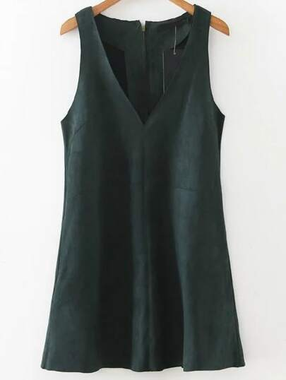 Dark Green V Neck Sleeveless Zipper Back Dress