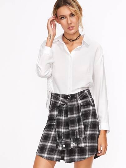 Tartan Plaid Sleeve Tie Skirt