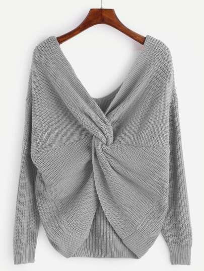 verknotet Pullover V-Ausschnitt-grau
