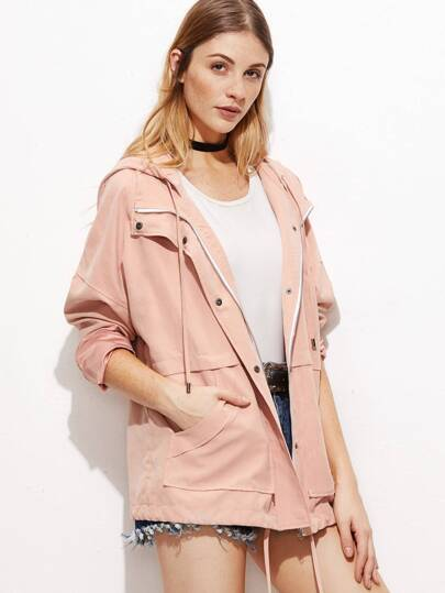 Pink Hidden Zip Drawstring Hem Hooded Jacket