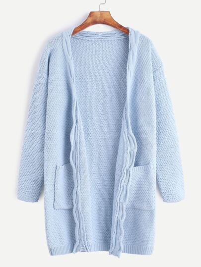 Blue Open Front Long Sweater Coat With Pockets