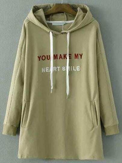 Army Green Letter Embroidery Drawstring Hooded Sweatshirt Dress