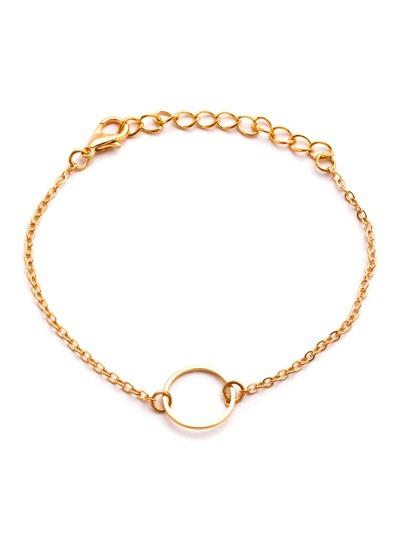 Brazalete hueco con cadena y círculo - dorado