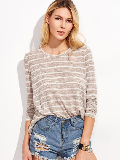 Khaki Marled Knit Striped T-shirt