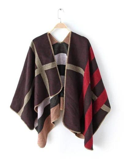 Контрастный асимметричный клетчатый шарф-накидка