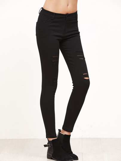 Black Ripped Detail Slim Pants