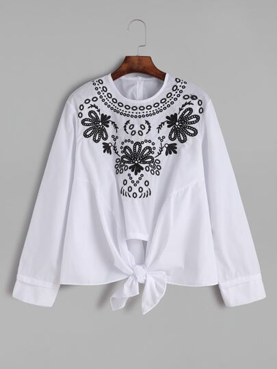 White Flower Embroidered Knotted Hem Blouse