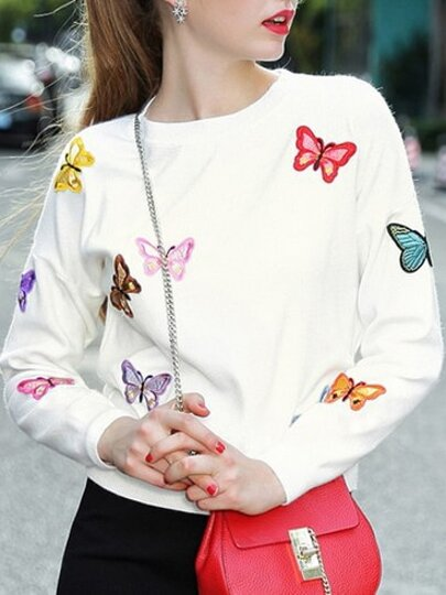 White Butterfly Applique Pouf Sweater