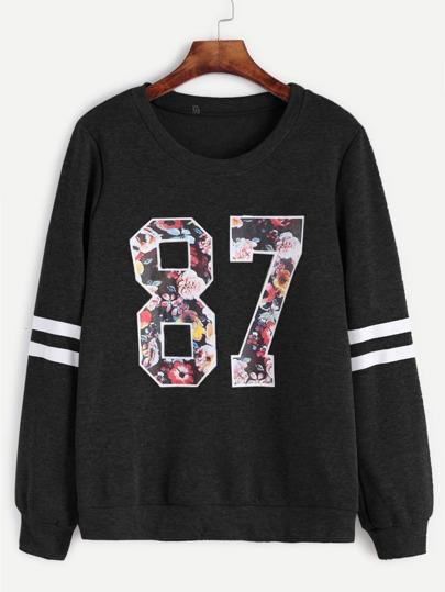 Varsity Print Stripe Sleeve Sweatshirt