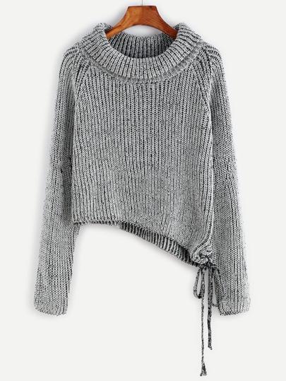 Asymmetrische Pullover Raglan Ärmel-schwarz und weiß