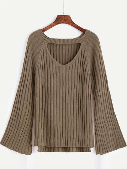 Khaki Cutout Front High Low Sweater