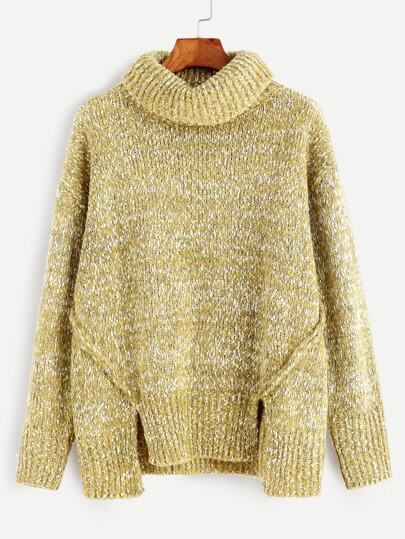 Yellow Turtleneck Double Slit Front Fleck Sweater
