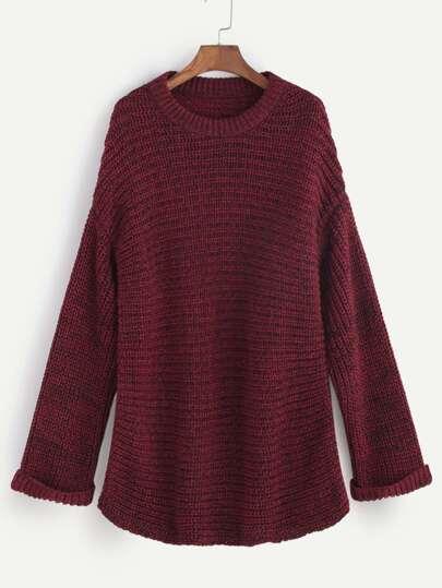 Burgundy Marled Knit Drop Shoulder Sweater