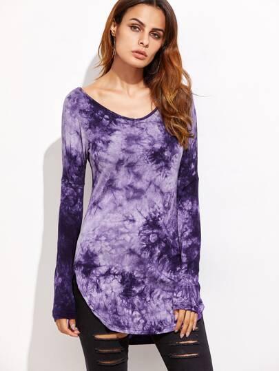 Camiseta con estampado de tie dye y bajo redondeado - violeta